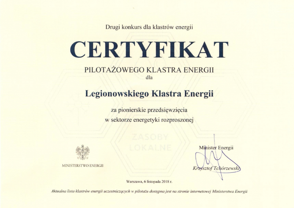 Certyfikat pilotażowego klastra energii